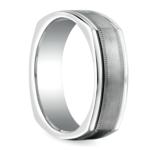 Milgrain Four-Sided Men's Wedding Ring in White Gold | Thumbnail 02