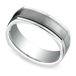 Milgrain Four-Sided Men's Wedding Ring in White Gold