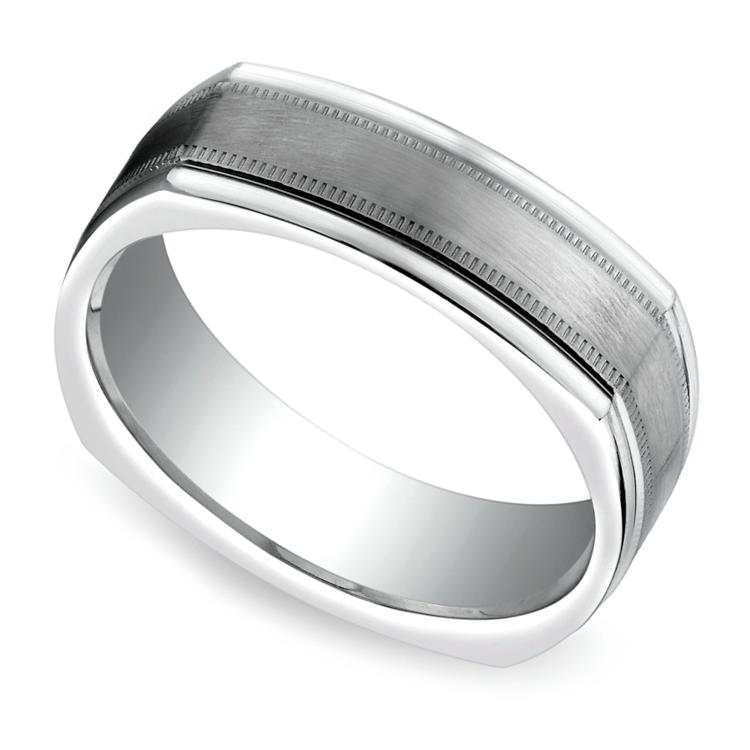 Milgrain Four-Sided Men's Wedding Ring in White Gold | 01