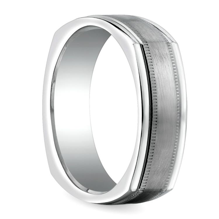 Milgrain Four-Sided Men's Wedding Ring in White Gold | 02