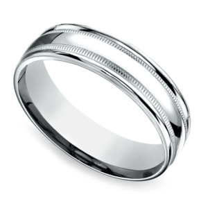 Milgrain Men's Wedding Ring in White Gold (6mm)