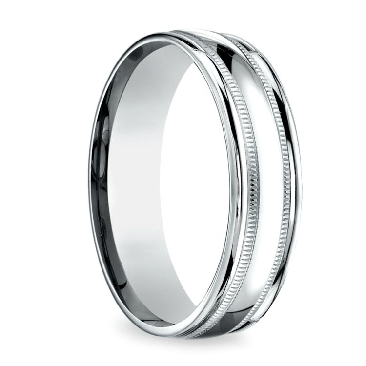 Milgrain Men's Wedding Ring in White Gold (6mm)   02
