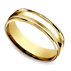 Milgrain Men's Wedding Ring in Yellow Gold (6mm)