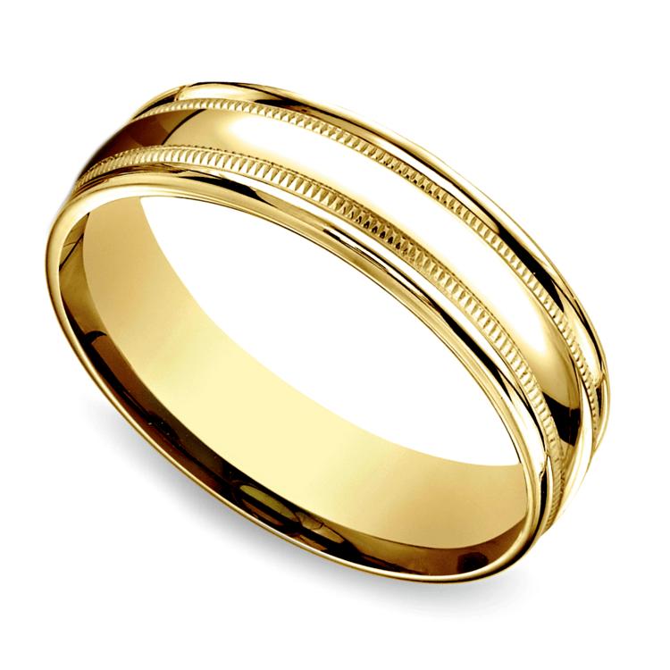Milgrain Men's Wedding Ring in Yellow Gold (6mm) | 01