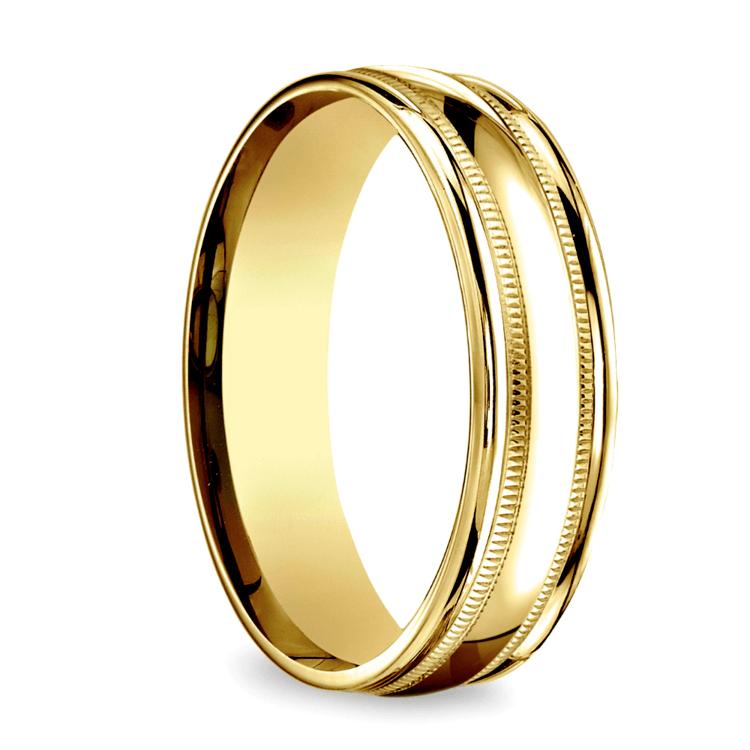 Milgrain Men's Wedding Ring in Yellow Gold (6mm) | 02