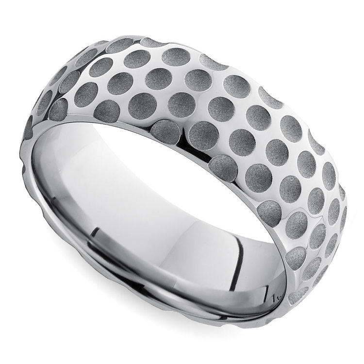 Mixed Finish Golfball Pattern Men's Wedding Ring in Cobalt | Zoom