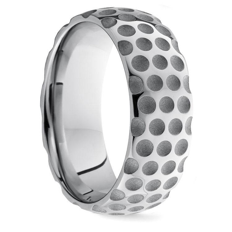 Mixed Finish Golfball Pattern Men's Wedding Ring in Cobalt | 02