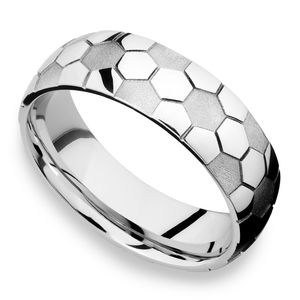Striker - Cobalt Mens Ring with Soccer Ball Pattern