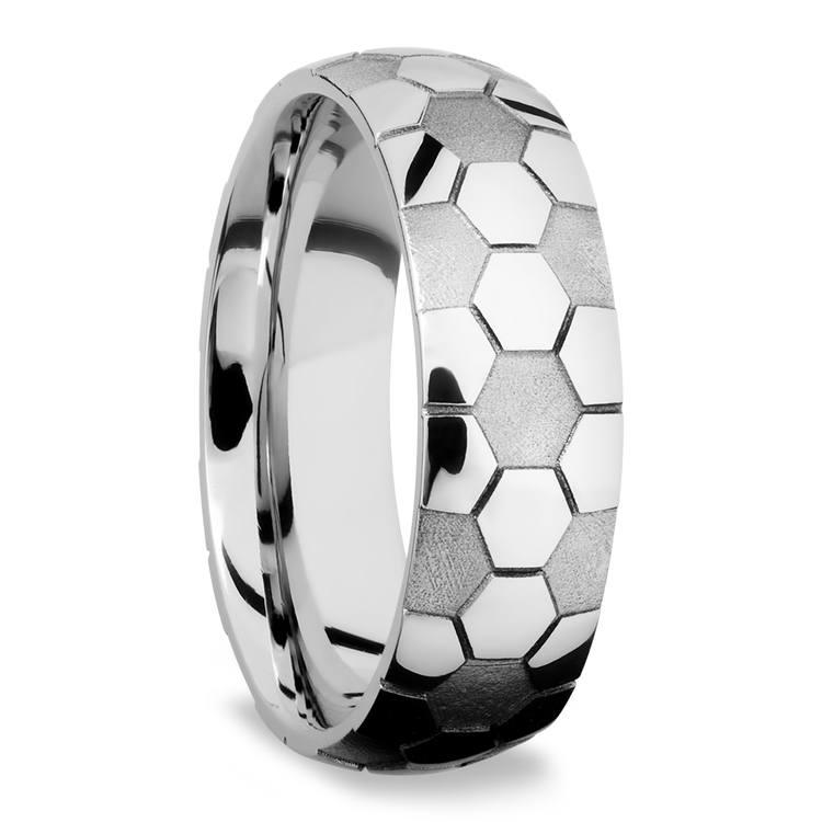 Striker - Cobalt Mens Ring with Soccer Ball Pattern | 02