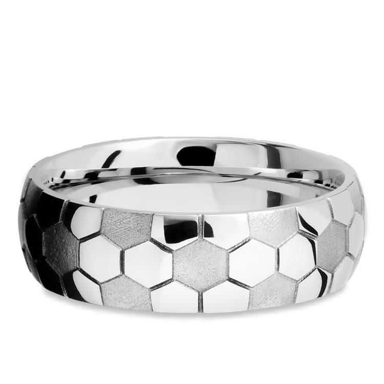 Striker - Cobalt Mens Ring with Soccer Ball Pattern | 03