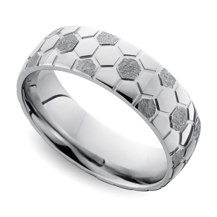 Mixed Finish Soccer ball Pattern Men's Wedding Ring in Cobalt | 01