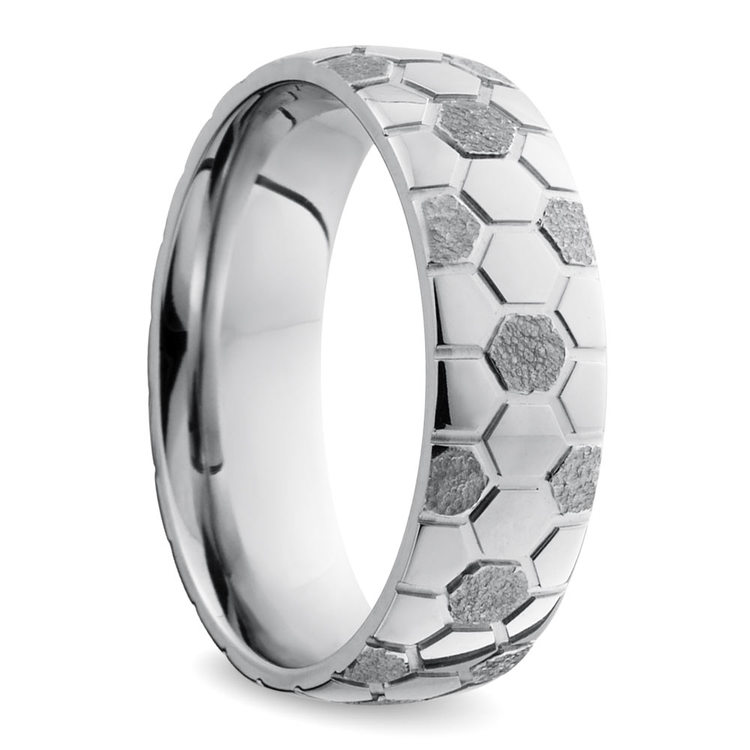 Mixed Finish Soccer ball Pattern Men's Wedding Ring in Cobalt | 02