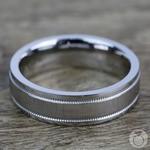 Mixed Finish Step Edge Milgrain Men's Wedding Ring in Cobalt | Thumbnail 03