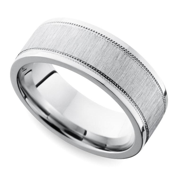 Mixed Finish Step Edge Milgrain Men's Wedding Ring in Cobalt | 01