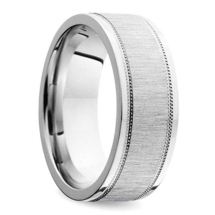 Mixed Finish Step Edge Milgrain Men's Wedding Ring in Cobalt | 02