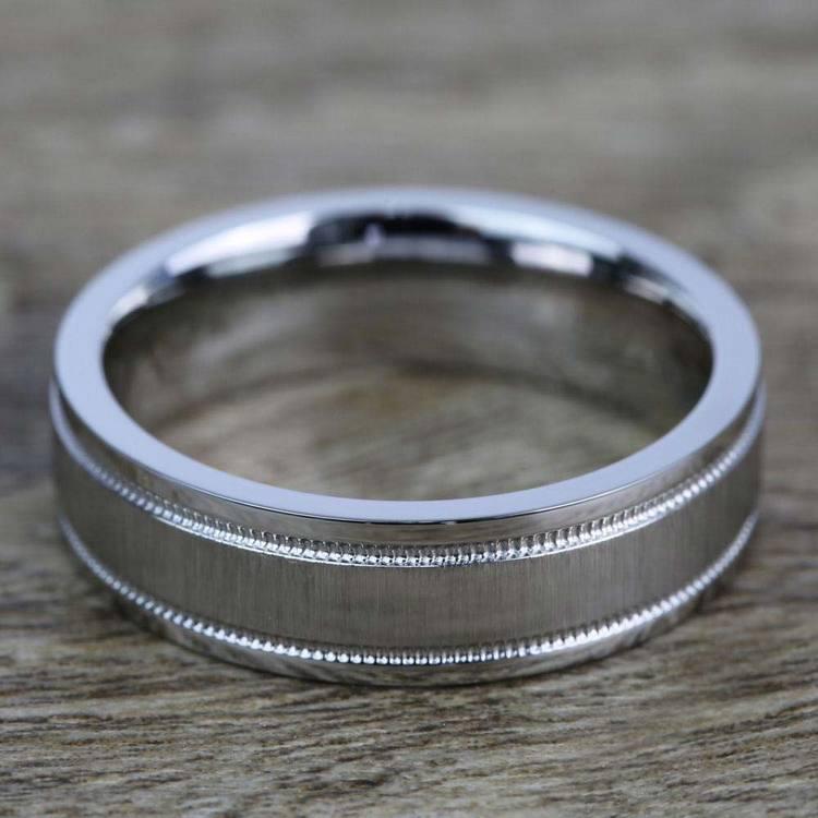 Mixed Finish Step Edge Milgrain Men's Wedding Ring in Cobalt | 03