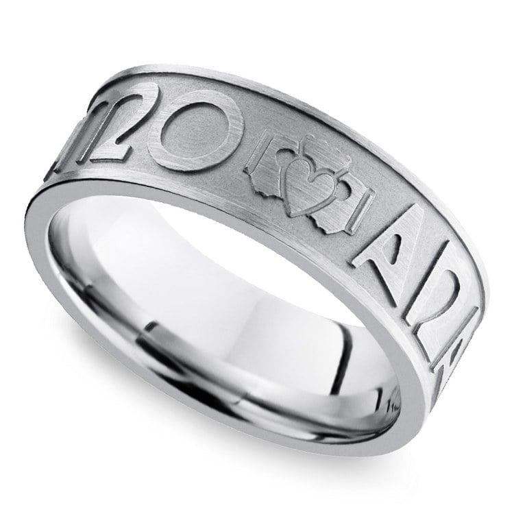 Mo Anam Cara Claddagh Men's Wedding Ring in Cobalt   01