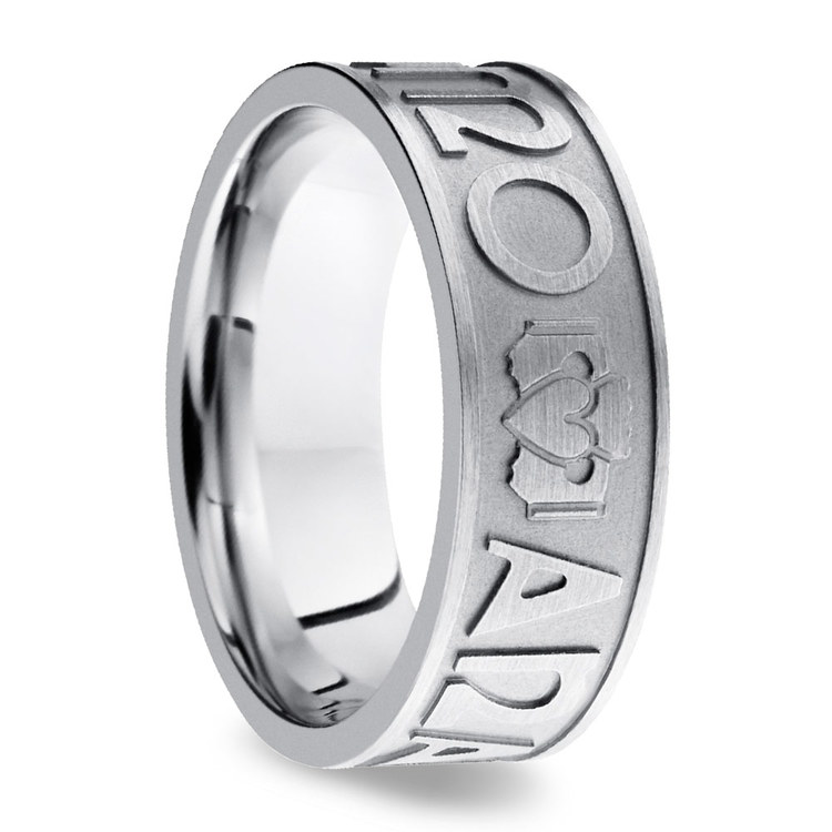 Mo Anam Cara Claddagh Men's Wedding Ring in Cobalt   02