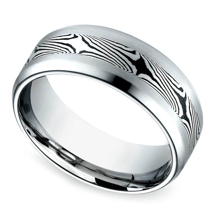 Mokume Men's Wedding Ring in Cobalt (8mm) | 01