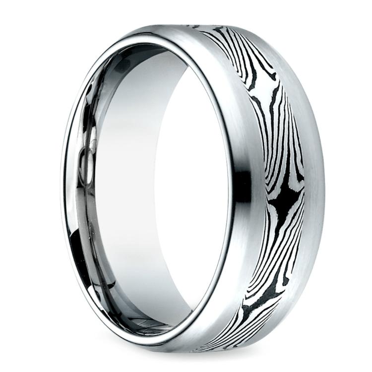 Mokume Men's Wedding Ring in Cobalt (8mm) | 02