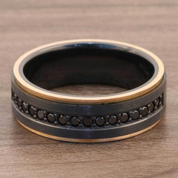 Monarch - Zirconium Black Diamond Mens Wedding Band | 07