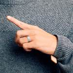 Monocle - Brushed Tungsten Mens Band with Inset Diamond | Thumbnail 06