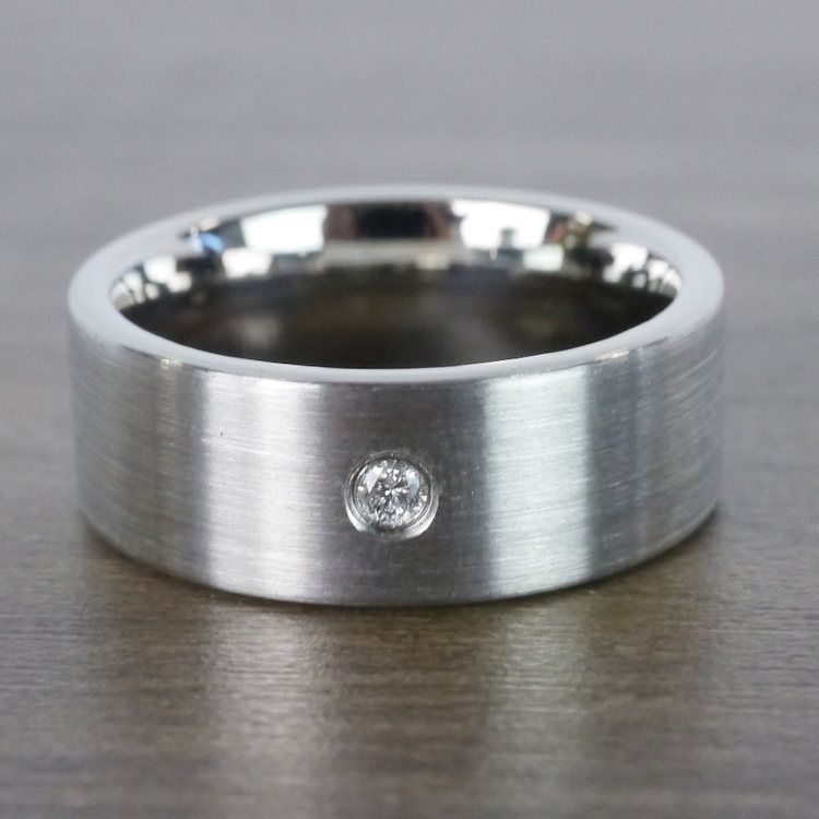 Monocle - Brushed Tungsten Mens Band with Inset Diamond | 03