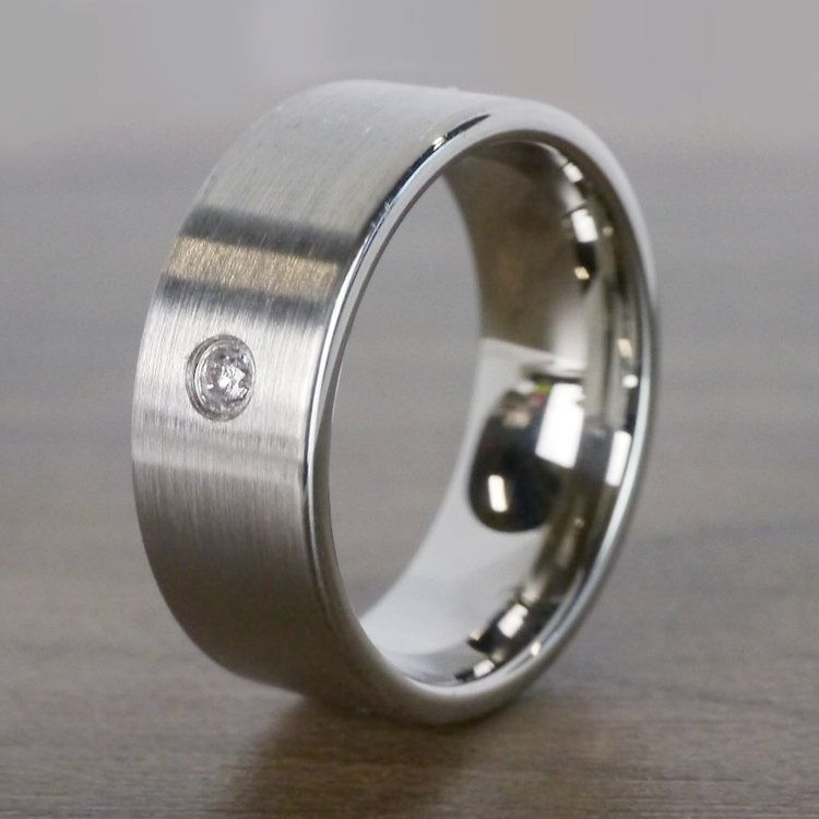 Monocle - Brushed Tungsten Mens Band with Inset Diamond | 04