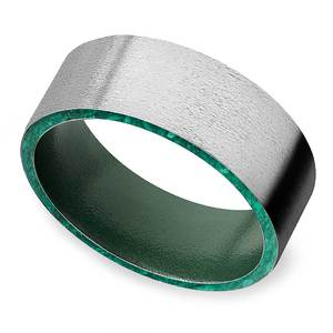 Mossy Stone - Stone Finish Cobalt Mens Band with Malachite Inlay