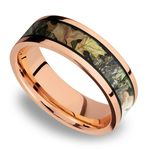 MossyOak Obsession Inlay Men's Wedding Ring in 14K Rose Gold | Thumbnail 01