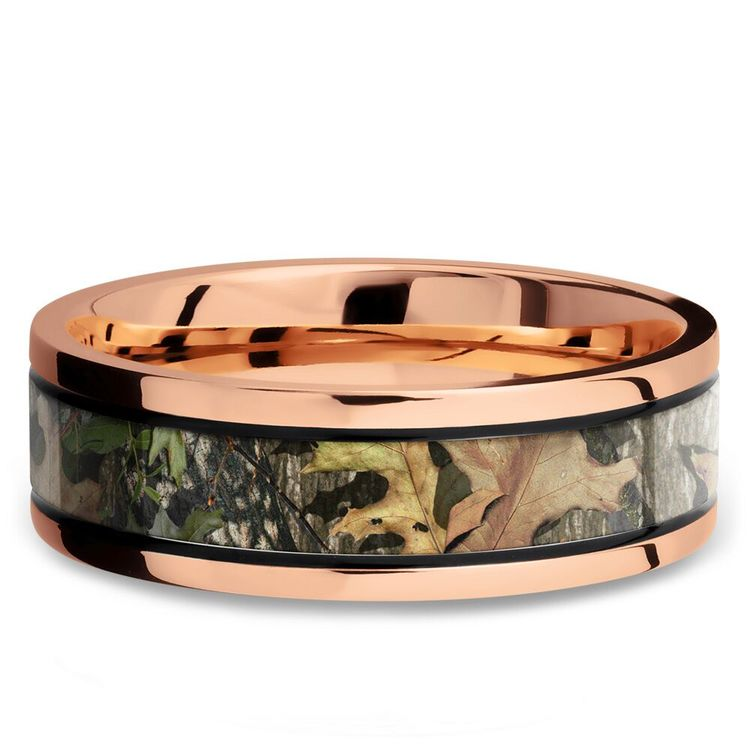 MossyOak Obsession Inlay Men's Wedding Ring in 14K Rose Gold | 03