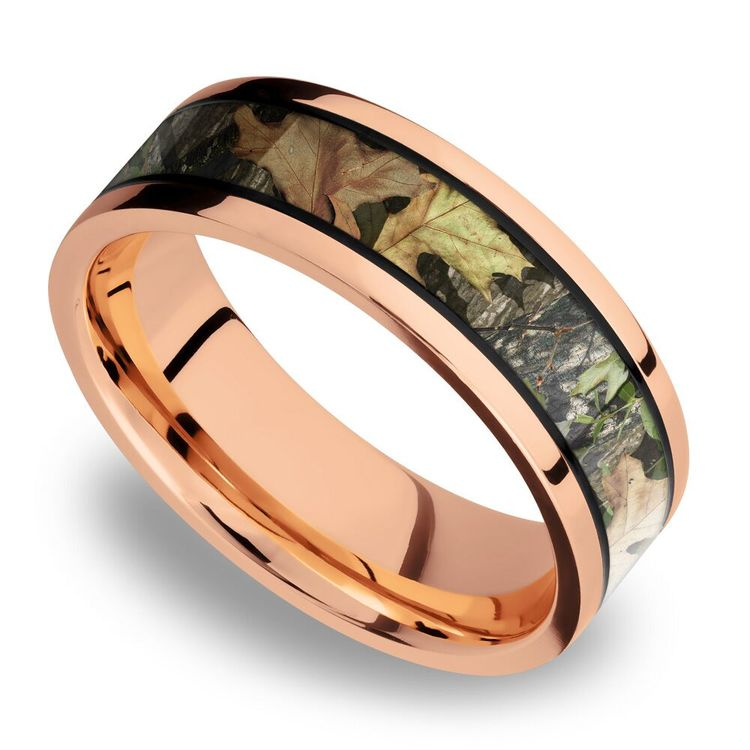 MossyOak Obsession Inlay Men's Wedding Ring in 14K Rose Gold | 01