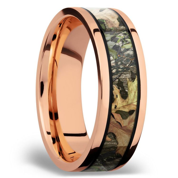 MossyOak Obsession Inlay Men's Wedding Ring in 14K Rose Gold | 02