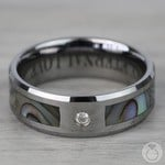 Mother of Pearl Men's Diamond Wedding Ring in Tungsten (8mm) | Thumbnail 04