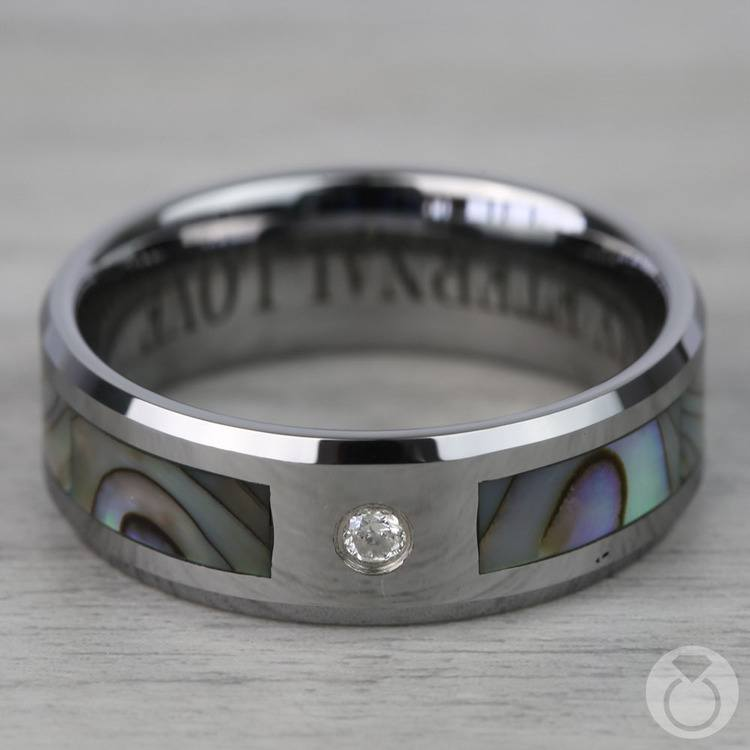 Mother of Pearl Men's Diamond Wedding Ring in Tungsten (8mm) | 04