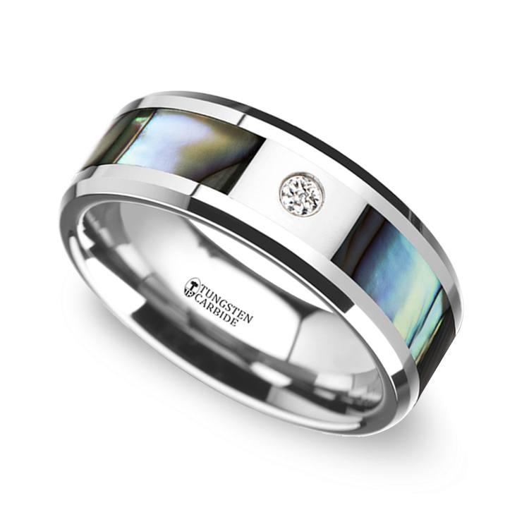 Mother of Pearl Men's Diamond Wedding Ring in Tungsten (8mm) | 01