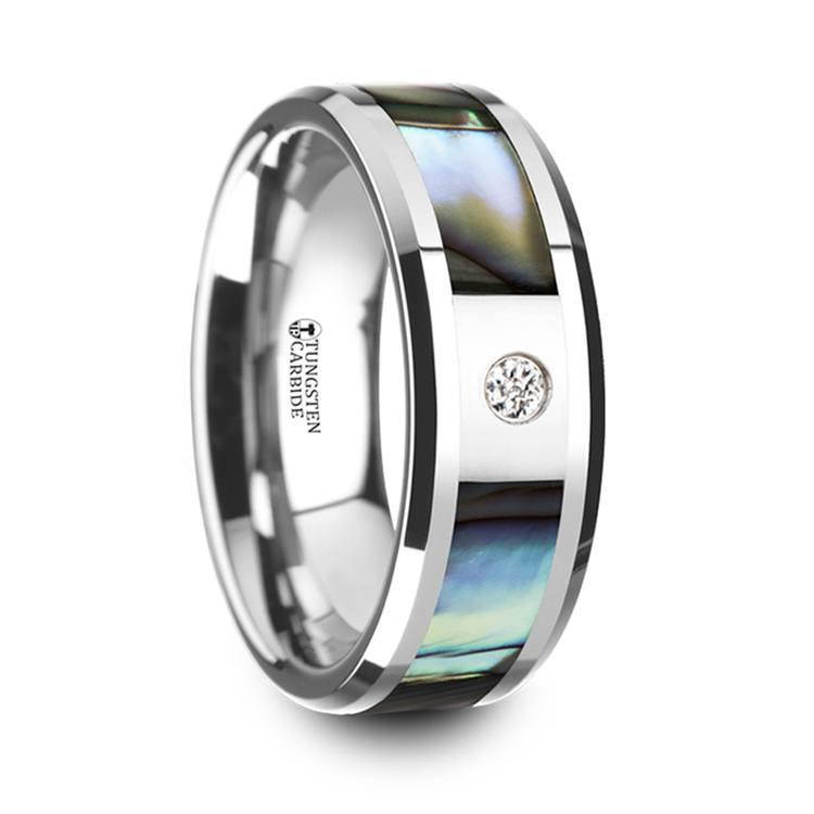 Mother of Pearl Men's Diamond Wedding Ring in Tungsten (8mm) | 02