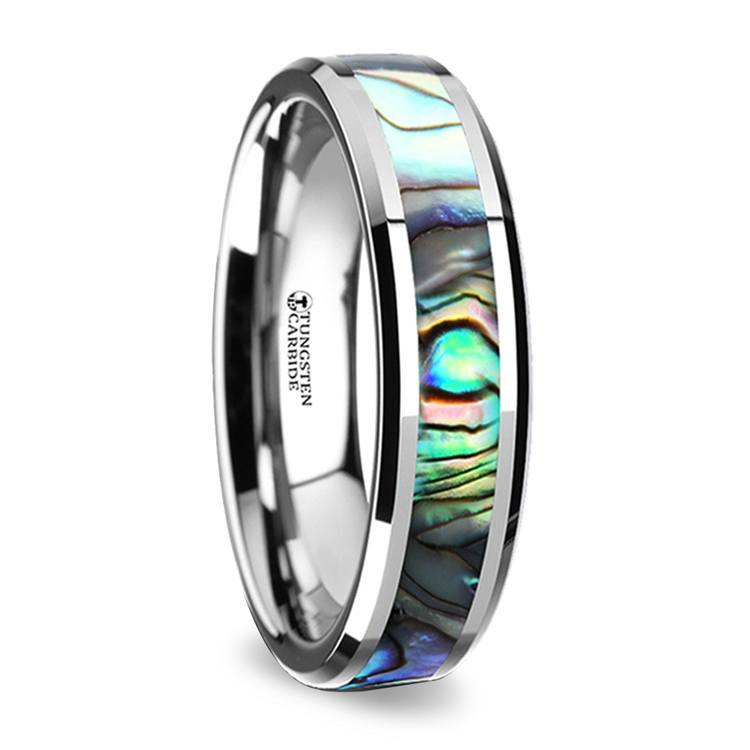 Mother of Pearl Inlay Wedding Ring in Tungsten (4mm)   02