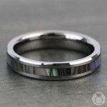 Mother of Pearl Inlay Men's Wedding Ring in Tungsten (4mm) | Thumbnail 04