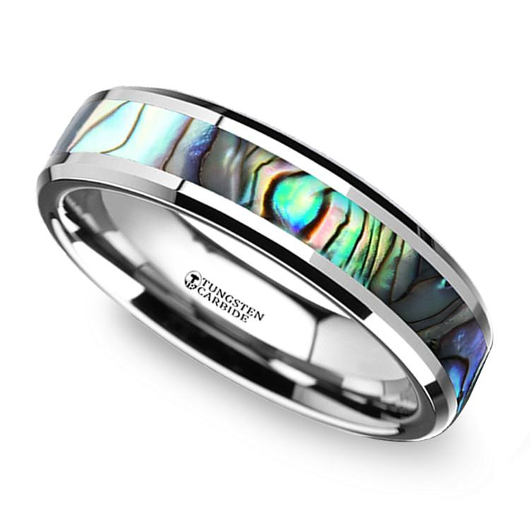 Mother of Pearl Inlay Men\'s Wedding Ring in Tungsten (4mm)