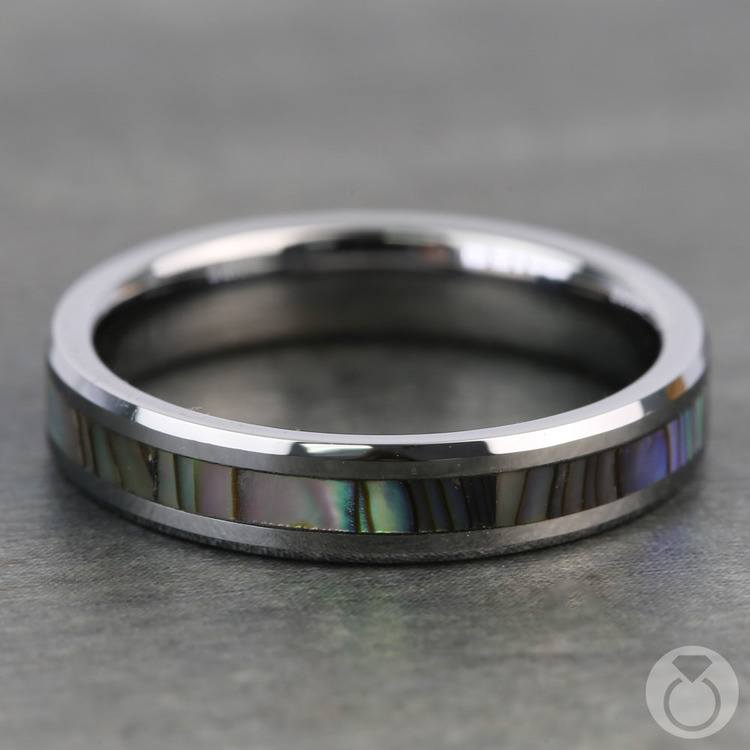 Mother of Pearl Inlay Men's Wedding Ring in Tungsten (4mm) | 04