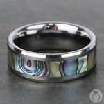 Mother of Pearl Inlay Men's Wedding Ring in Tungsten (8mm) | Thumbnail 04