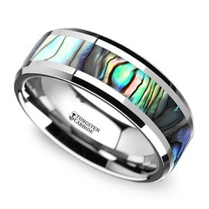 Mother of Pearl Inlay Men's Wedding Ring in Tungsten (8mm)