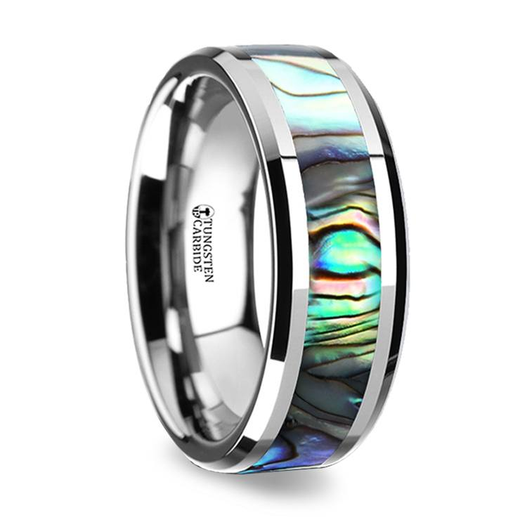 Mother of Pearl Inlay Men's Wedding Ring in Tungsten (8mm) | 02
