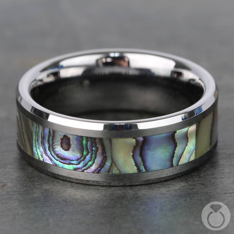 Mother of Pearl Inlay Men's Wedding Ring in Tungsten (8mm) | 04