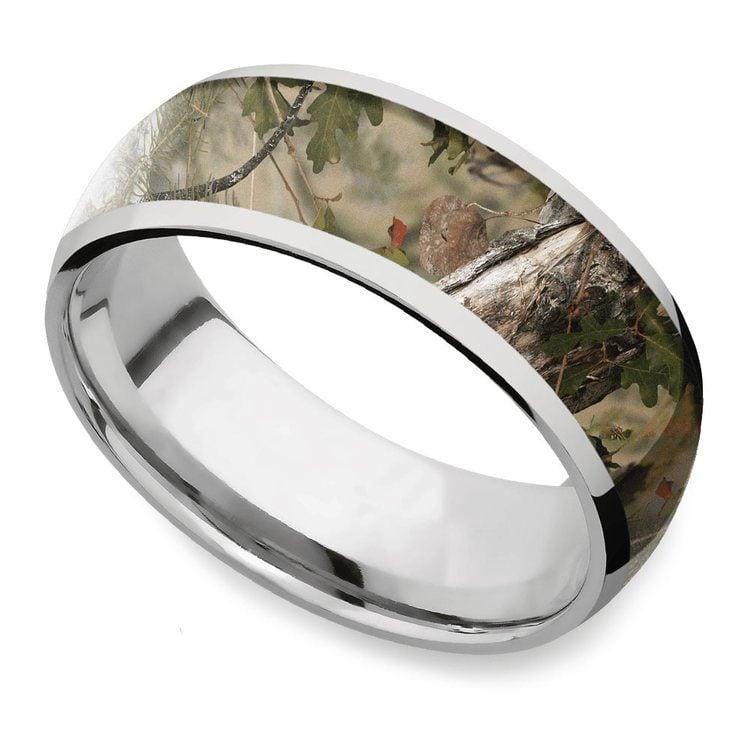 Mountain Range - Titanium Mens Leaf Ring | 01