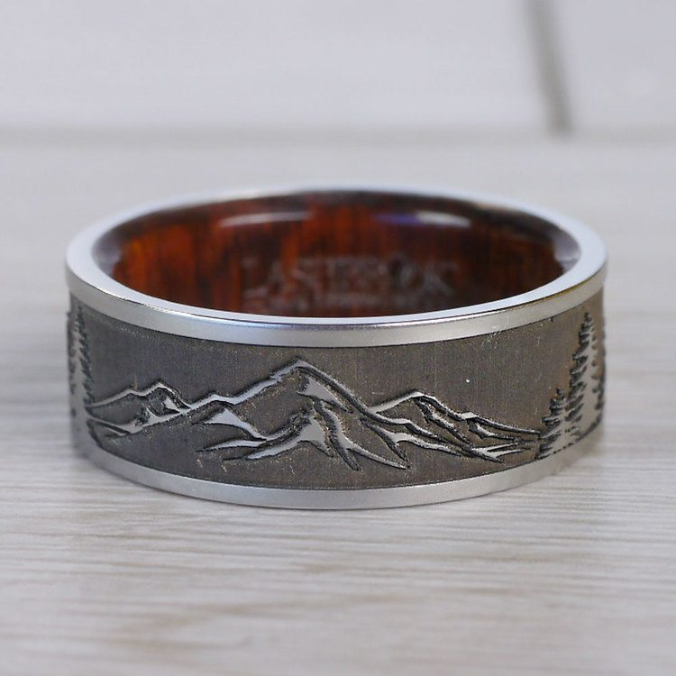 Mountain's Peak - Cobalt Mens Band with Wooden Sleeve   05