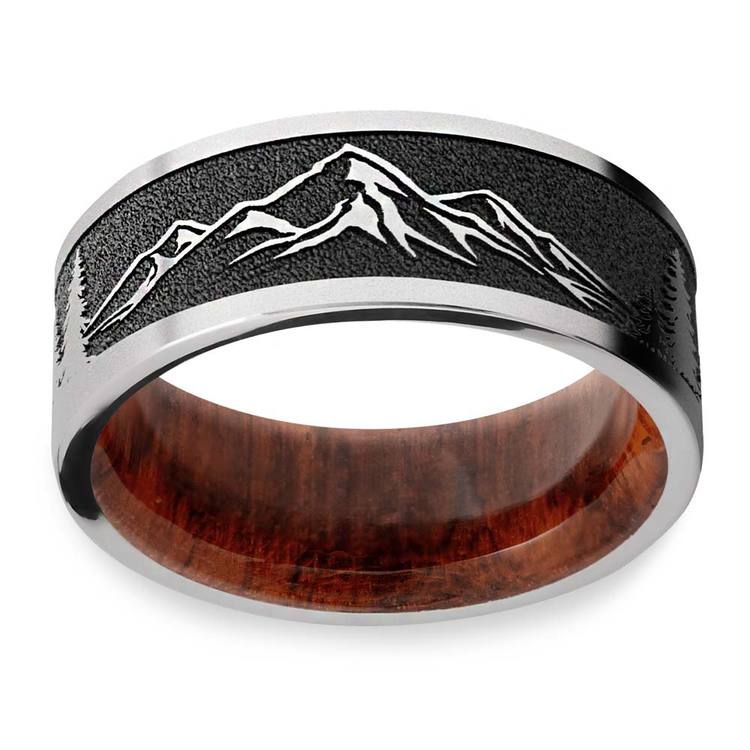 Mountain's Peak - Cobalt Mens Band with Wooden Sleeve | 03