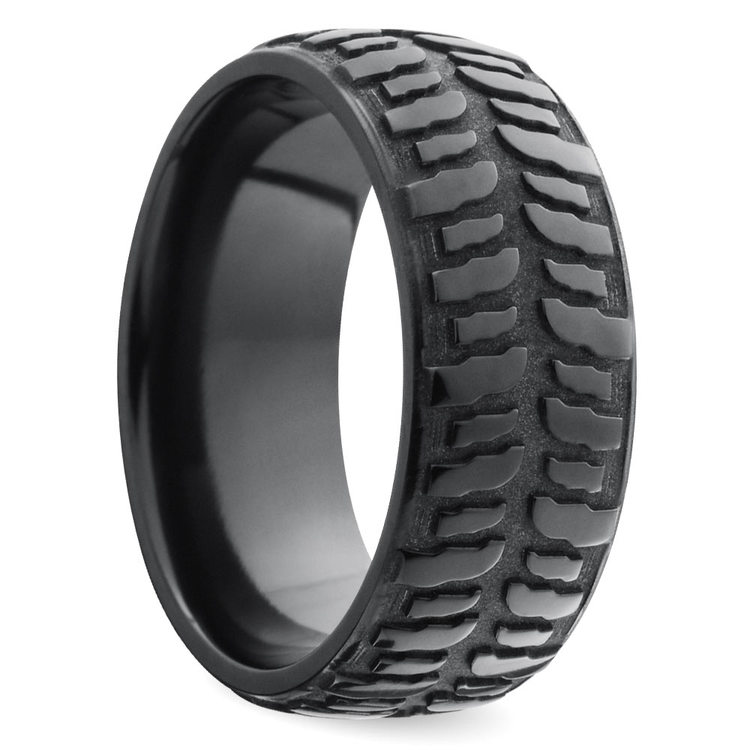 Mudder Tire Pattern Men's Wedding Ring in Zirconium | 02