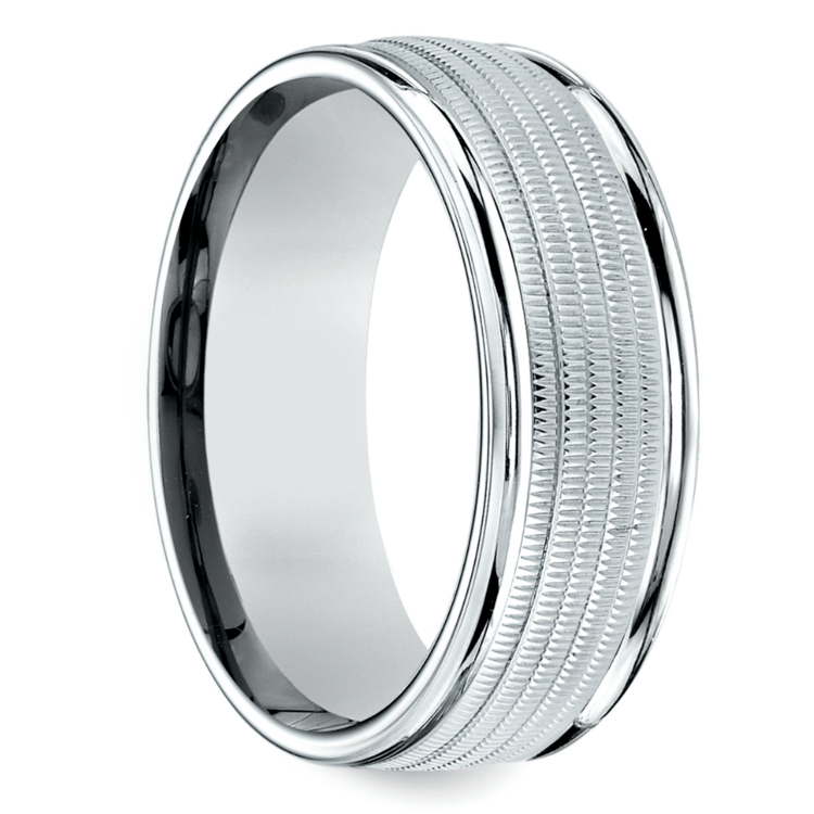 Multi Milgrain Men's Wedding Ring in Palladium | 02
